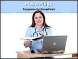 PowerPoint Template - lady doctor prescribing treatment with laptop