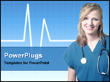 PowerPoint Template - lady doctor in front of sound wave background