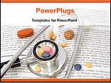 PowerPoint Template - stethoscope,drugs on a medical book