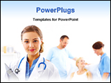 PowerPoint Template - a young caring doctor with her patients