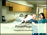 PowerPoint Template - two nurses in front of hospital corridor