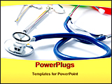 PowerPoint Template - stethoscope with other medical tools