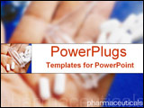 PowerPoint Template - Hand holding prescription drugs with pharmaceuticals text