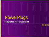PowerPoint Template - Purple and yellow push with dominant multimedia wo