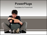 PowerPoint Template - Young man hug TV isolated on white. Television and mass media concept