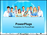 PowerPoint Template - Smiling medical people with stethoscopes. Isolated over white background