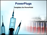 PowerPoint Template - Three medical syringes with plain white background