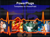 PowerPoint Template - Cardiogram illustration with grid background. Health care
