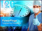 PowerPoint Template - urgeon or medical scrub nurse giving the thumbs up hand signal of quality perfection approval excel