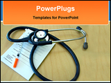 PowerPoint Template - doctors desk with a syringe stethoscope and precription pad