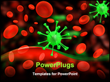 PowerPoint Template - a 3d image of many red cells and one green virus