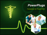 PowerPoint Template - Medical collage of ecg machine with universal medical symbol
