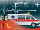 PowerPoint Template - A Concept And Presentation Figure in 3D, A lifeline in an electrocardiogram and an ambulance