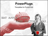 PowerPoint Template - Happy medical kid with a red apple