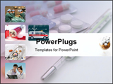 PowerPoint Template - the pills whith thermometer over the table