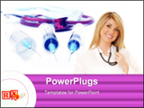 PowerPoint Template - Three syringes, stethoscope and mouth protection in background.
