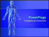PowerPoint Template - 3d render of a transparent blue man with a skeleton inside.