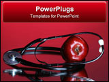 PowerPoint Template - stethoscope and apple on red background