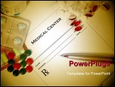 PowerPoint Template -  blank medical prescription with a different variety of colored pills surrounding it. A pen is layi