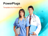 PowerPoint Template - Smiling medical people with stethoscopes. Over blue background