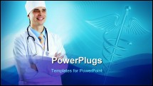 PowerPoint Template - Smiling medical doctor with stethoscope on the hospitals background