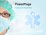 PowerPoint Template - Medical sign, caduceus on blue