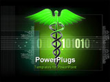 PowerPoint Template - Digital illustration of Medical caduceus sign in 3d on digital background