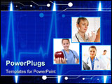 PowerPoint Template - Heart monitor on a dark blue background