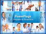 PowerPoint Template - Smiling medical doctors with stethoscopes. Health care