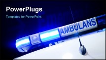 PowerPoint Template - Blue ambulance emergency light isolated on black