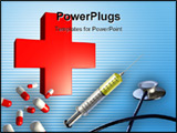 PowerPoint Template - omposition of a stethoscope syringe and some capsules dominated by a red cross. Digital illustratio