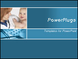 PowerPoint Template - Blue template with a femail doctor holding a baby and medicine pills with stethoscope