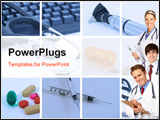 PowerPoint Template - Smiling medical people with stethoscopes. Doctors and nurses over white background
