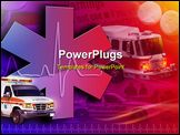 PowerPoint Template - n abstract medical rescue collage with an ambulance, firetruck and police car. There is a heart bea