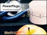 PowerPoint Template - Isolated shot of apple stethoscope and medical book.