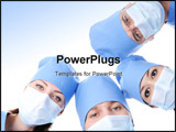 PowerPoint Template - four surgeons heads in masks together making circle