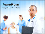 PowerPoint Template - A portrait of doctor with two attractive nurses in the background