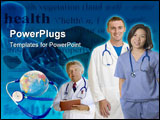 PowerPoint Template - Doctors and Nurses standing with white background and background of earth