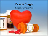 PowerPoint Template - A heart and bottles of prescription medication.