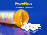 PowerPoint Template - Pills pouring from prescription bottle set on blue background
