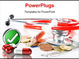 PowerPoint Template - Red Stethoscope and a syringe with money - symbolizing expensive healthcare systems. High key image!