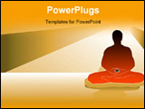PowerPoint Template - black silhouette of a man doing meditation under the moonlight