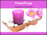 PowerPoint Template - Pink candle and white pebbles with flowers