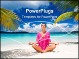 PowerPoint Template - woman meditating on tropical beach in pink