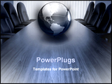 PowerPoint Template - empty boardroom table with chairs for at least 6 people in monotonal greyish blue