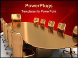 PowerPoint Template - abstract 3d illustratin of golden table and chairs