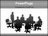 PowerPoint Template - staff meeting or board meeting in sillotte, vector style.