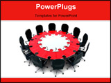 PowerPoint Template - Conceptual conference-table. The table consist of puzzle pieces.