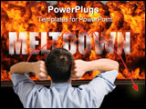 PowerPoint Template - oncept image of stock market meltdown. Explosion and flames along with the single word \