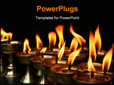 PowerPoint Template - Memorial candles burning inside dark temple Nepal
